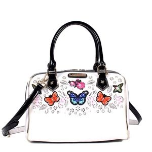 NICOLE LEE VISOLA BUTTERFLY EMBROIDERED BOSTON BAG